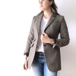 Talbots Brown Herringbone Blazer Jacket